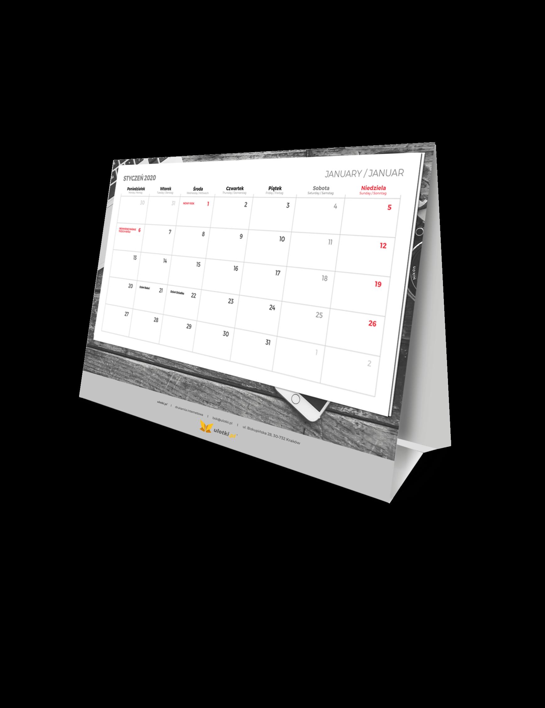 Kalendarze biurkowe z wklejanym kalendarium